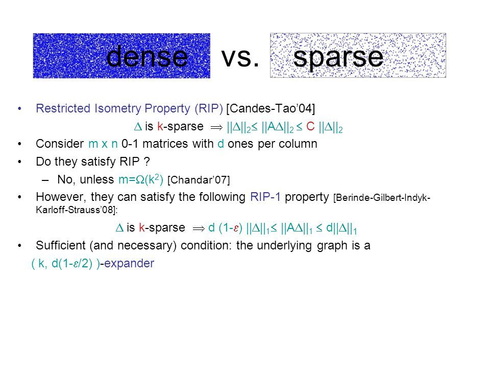 dense vs. sparse Restricted Isometry Property (RIP) [Candes-Tao'04]